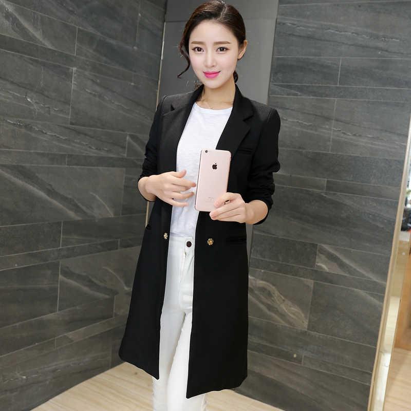 2019 printemps automne nouveau femmes Long manteau Slim élégant Blazer veste grande taille solide décontracté femme Blazer Orange vert noir 3XL