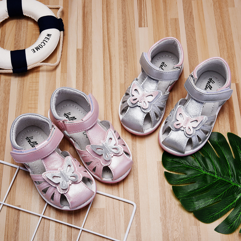 Hellenia children sandals toddler girls closed toe butterfly flat casual shoes kids sandals summer pink silver size 21 36 in Sandals from Mother Kids