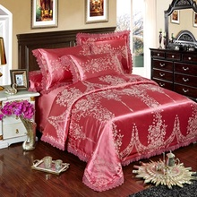 silver gold blue lace jacquard luxury bedding sets queen king size bed cover silk cotton bed