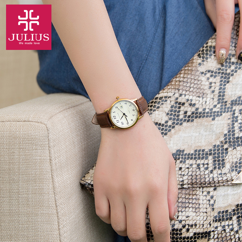 Image 5 - Top Julius Women's Watch Japan Quartz Hours Auto Date Fine Fashion Woman Clock Real Leather Strap Girl's Retro Birthday Gift Box-in Women's Watches from Watches