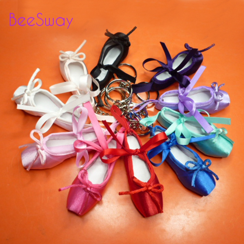 Mini Dancer Satin Ballet Keyring Purple Professional Ballet Toe Keyring Gift Ballet Shoe Keychain Dance Little Tool For Girls