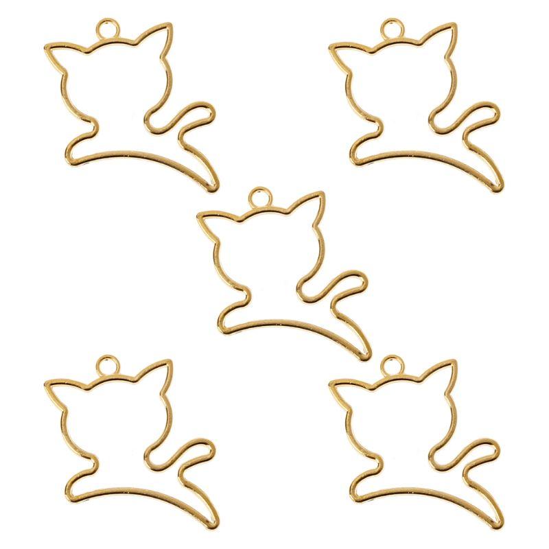 5Pcs Cute Jump Cat Blank Resin Frame Pendant Open Bezel Setting Jewelry Making