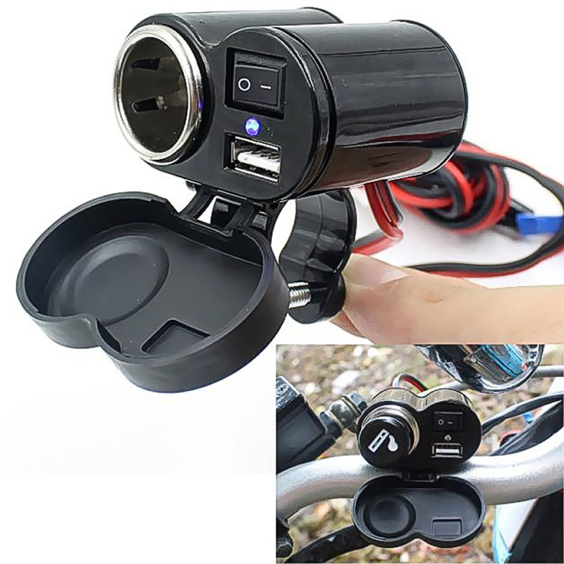 12V Car Motorcycle Bike Waterproof Cigarette Lighter USB Power Charging Socket 1 Pc