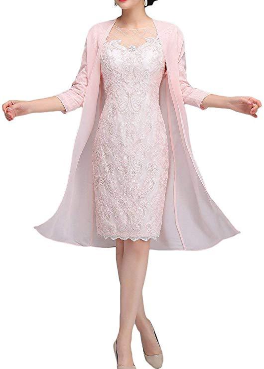 Light Pink Lace Mother Of The Bride Dresses Tea Length Sheath 3/4 Sleeves With Chiffon Jacket Vestido Mae Da Noiva