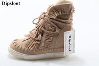 Лидер продаж 2018 Женская мода Украшенные кисточками Кружево со шнуровкой на плоской подошве Обувь Женская обувь, увеличивающая рост для дам