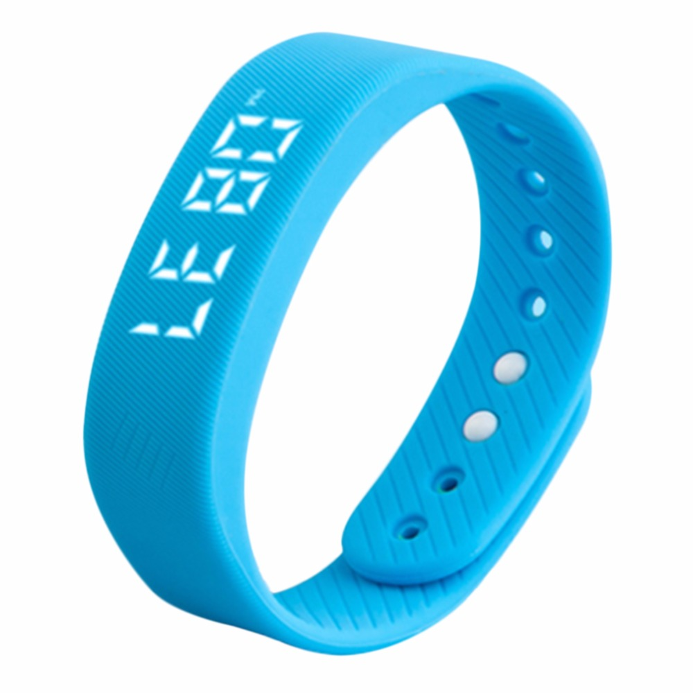 New Style Women Men 3D T5 LED Display Sports Gauge Workout Fitness Gym Bodybuilding Bracelet Step Tracker Pedometer blue