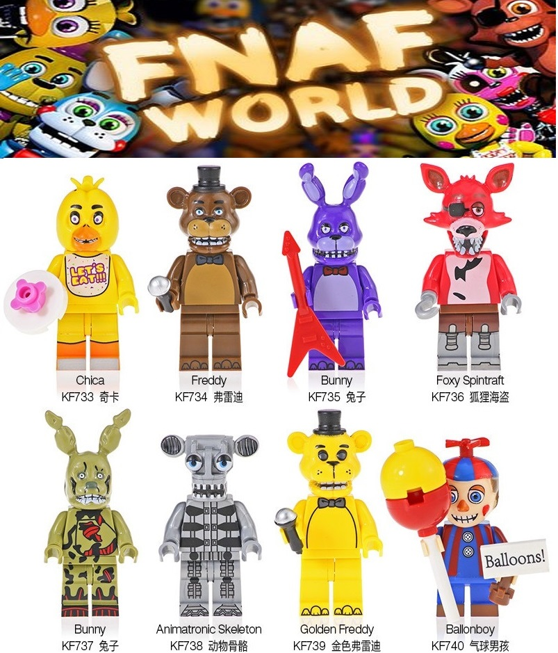 Single Sale Building Bricks Blocks Ballonboy Chica Colorful Freddy Foxy Spintraft Cartoon Movie Figures Toys For Children KF6071