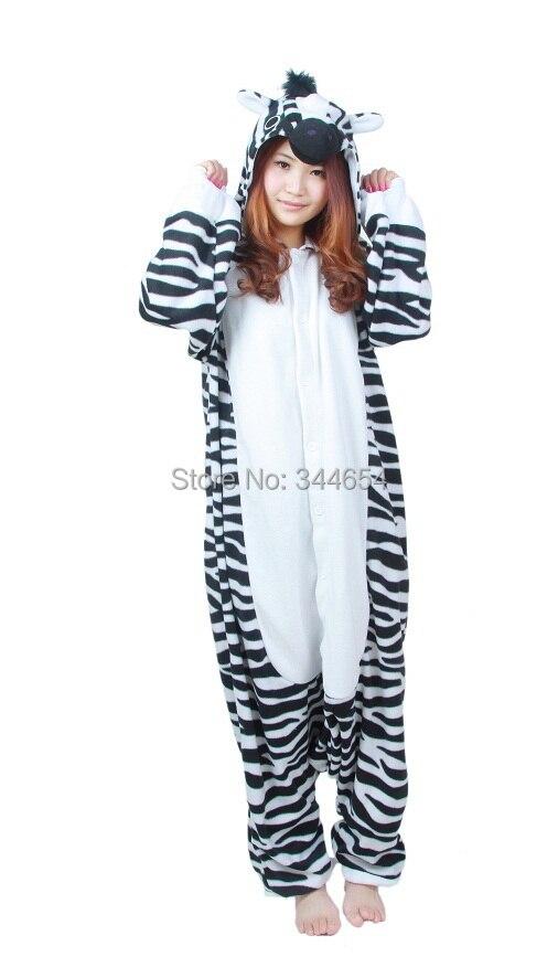1d513aed782 Cartoon Adult Unisex Zebra Jumpsuit Anime Horse Pajamas Halloween ...