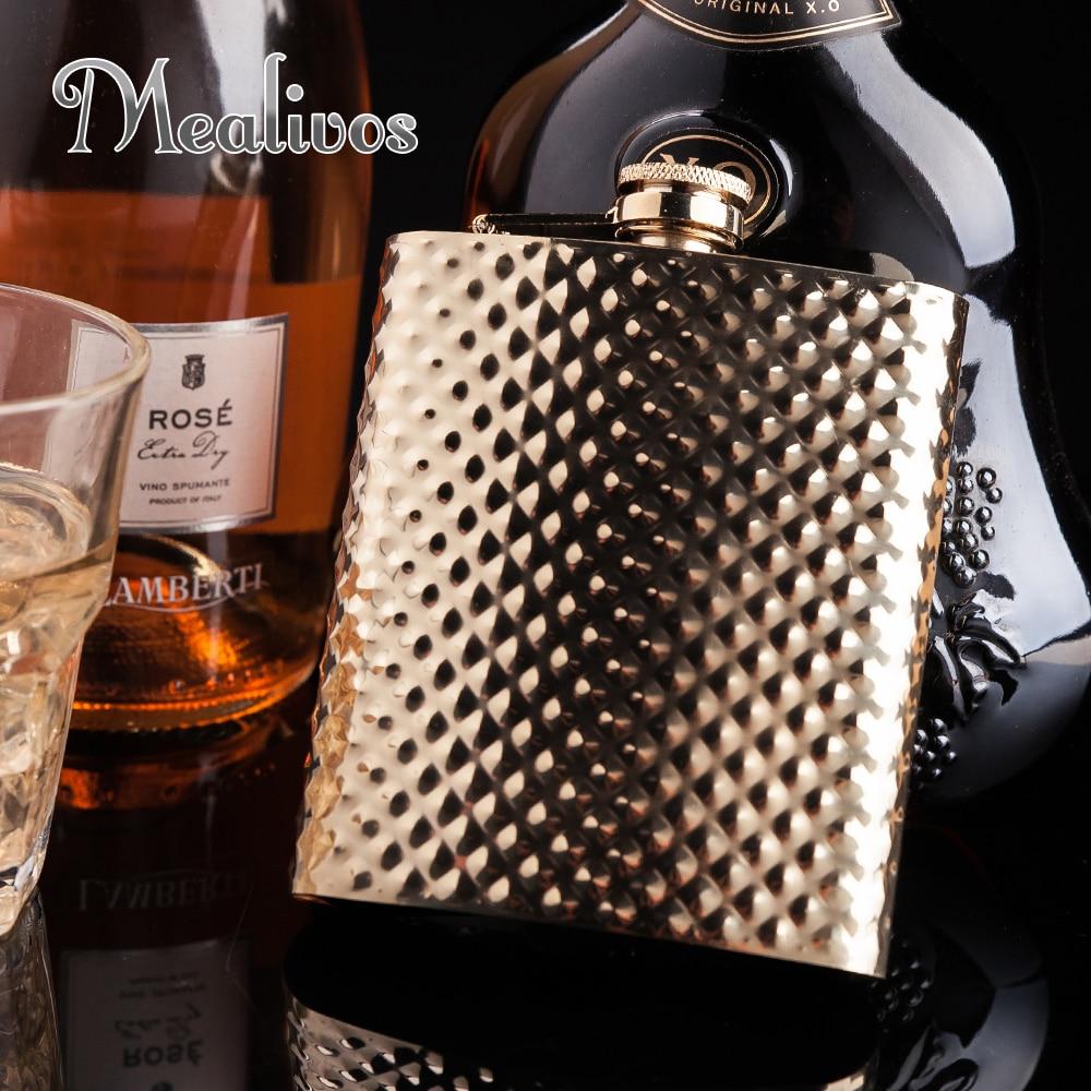 Mealivos Or Diamants briller En Acier Inoxydable 8 oz Hip Flask Alcool Alcools Whiskey vodka Bouteille cadeaux de mariage verres