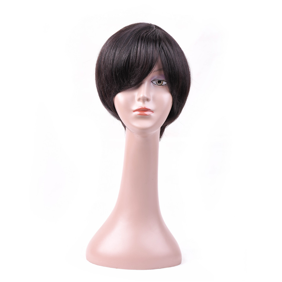 MQYQ Short Human Hair Wigs With Baby Hair Bang Non Remy Full Human Hair Wig For Black Women Size Adjustable 7906