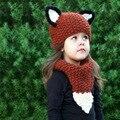 2 Unids Set Sombrero + Bufanda Caliente del Invierno de Punto Caps Con los Oídos Fox Lindo Bebé Niñas Bufandas Tejidas A Mano Patchwork Gorros Niños Sombreros Kawaii