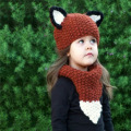 2Pcs Set Hat+Scarf Winter Warm Knitted Caps With Ears Cute Fox Baby Girls Hand-Woven Scarves Patchwork Beanies Boys Hats Kawaii