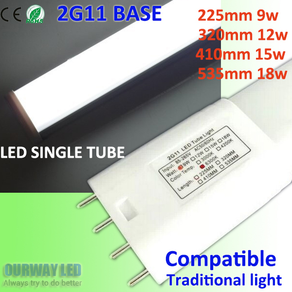 9W 12W 15W 18W 2G11 Tube LED Light Energy Saving Replacement For 18w 24w 36w 40w Fluorescent Lamp, No Ballast Removed