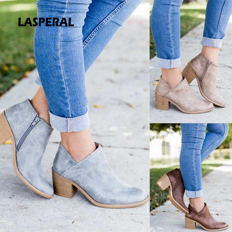 LASPERAL  Autumn Women Shoes 2019 Retro High Heel Ankle Boots Female Block Mid Heels Casual Botas Mujer Booties Feminina