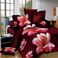 Esydream king size Pink Water Lily floral colchas, 4 Unid floral Ropa de cama, Niñas cama Sábanas reina doble tamaño