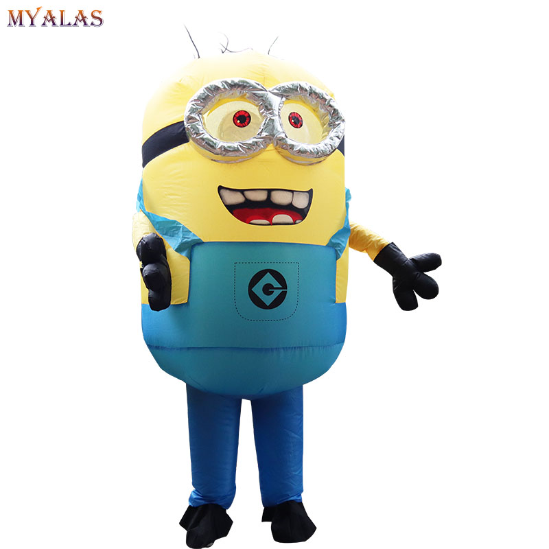 New Minion Inflatable Costume With One Eye or double eyes Halloween Cosplay Party Costume Adult Minion