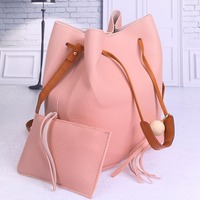 2Pcs Sets Shoulder Bags Designer Women Leather Handbags High Quality PU Leather Drawstring Bucket Bag Crossbody