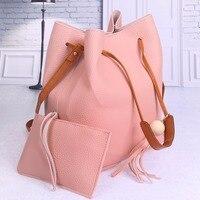 2Pcs Sets Shoulder Bags Designer Women Leather Handbags High Quality PU Leather Drawstring Bucket Bag Crossbody