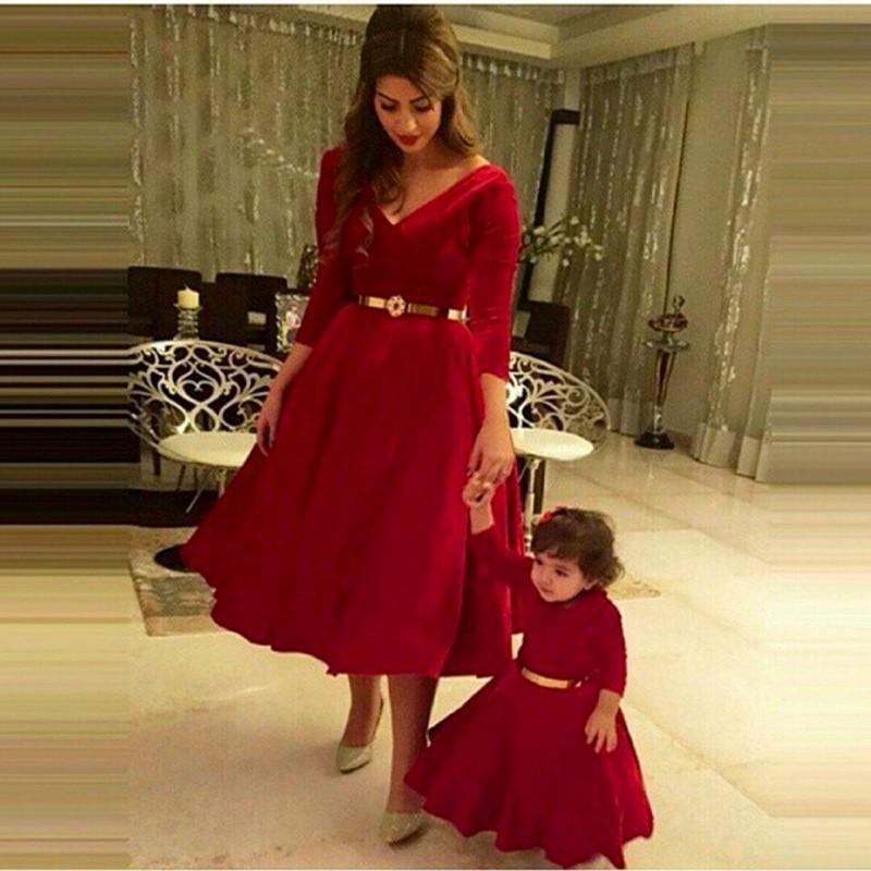 e03e33b748f Hot Sale Mother and Daughter Burgundy Prom Dresses Short Party Dress with  Sleeve Discount Cheap Vestidos de Festa On Sale Online-in Prom Dresses from  ...