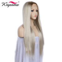 Blonde Wig Synthetic Lace Front Wigs for Women Brown Roots Natural Straight Long Gray Blonde Platinum Wig Heat OK Fiber 24