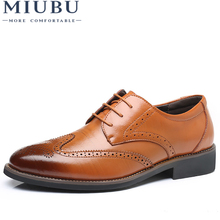 MIUBU Luxury Designer Formal Men Dress Shoes Genuine Leather Classic Brogue Shoes Flats Oxfords For Wedding Office Business цены онлайн
