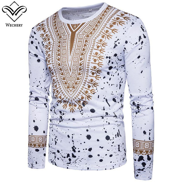03c29be0c14728 Wechery 2018 Dashiki Men Plus Size Long Sleeve 3D Printed Clothing Spring  Cotton Casual Tops Shirts Tribal Ethnic Clothes