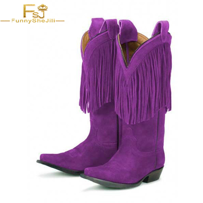 US $114 39 12% OFF|FSJ Purple Cowgirl Boots Flock Zip Polyurethane Autumn,  Winter arty, Dancing club, Music festival Fringe Mid Calf Suede Boots-in