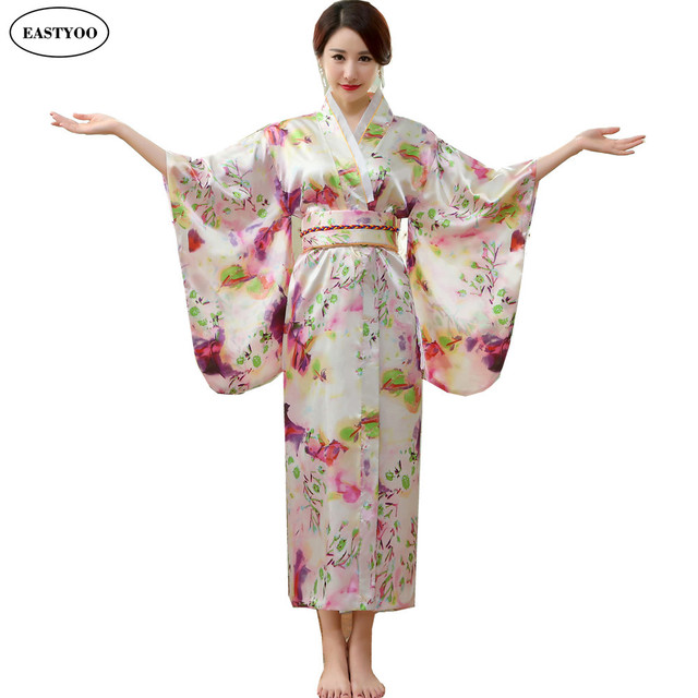Japanese Silk Robes Women Bathrobes Long Dressing Gown Flora Silk ...