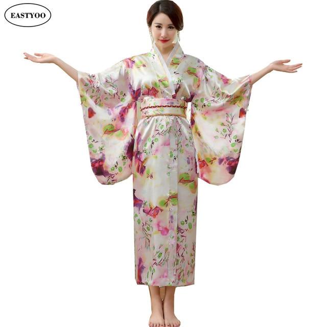 f449de6ab8 Japanese Silk Robes Women Bathrobes Long Dressing Gown Flora Silk Pajamas  Robe Femme Korean Hanbok Long Japanese Kimono