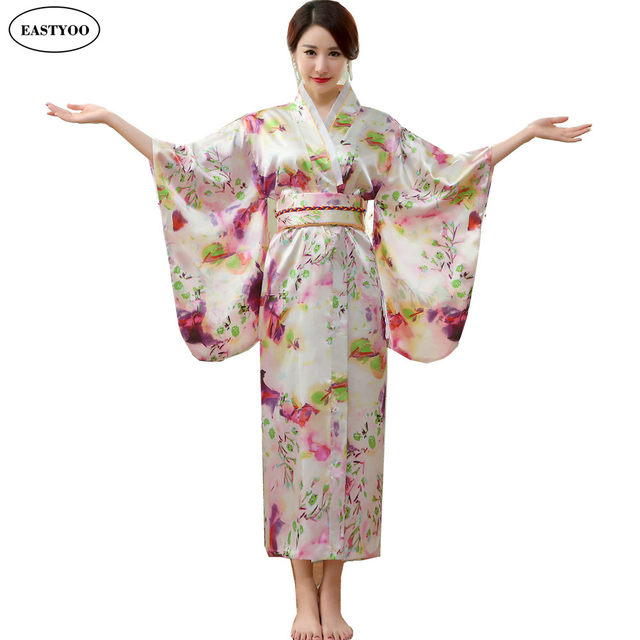 Online Shop Japanese Silk Robes Women Bathrobes Long Dressing Gown ...