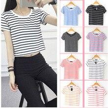 купить 2019 Newly Droppshiping Summer Women Striped Crop Top T-Shirt Short Sleeve Lady Girl Casual Tee Shirts dg88 дешево