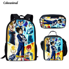 Coloranimal Teenager Boy Schoolbag Japanese Anime/Super Dragon Z Ball 3pcs Set Backpack Kids Saiyan Goku Print Bookbag Child Bag