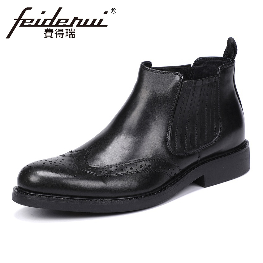 New Vintage Genuine Leather Men's High-Top Chelsea Ankle Boots Round Toe Platform Handmade Cowboy Riding Shoes For Man YMX582 new arrival man handmade flat platform shoes genuine leather round toe carved men s cowboy riding high top ankle boots js22