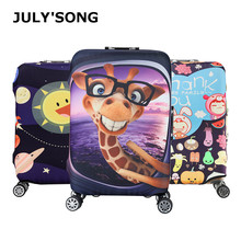 JULY'S SONG Cartoon Luggage Protective Cover For 18-32 inch Giraffe Trolley Suitcase Cover Luggage Case Travel Accessories suitcase case travel trolley suitcase protective cover for s m l xl 18 32 inch travel accessories luggage cover