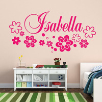 Flowers Wall Stickers Kids Bedroom DIY Home Decor Stickers Vinyl Art Wall Decals Customized Name
