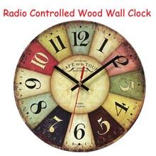 DCF77 Retro Wooden font b Wall b font font b Clocks b font Funkuhr Quartz MDF
