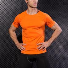 S-2XL мужской тренажерный зал Спорт Бег упражнения О-образным вырезом Футболка Рубашки Quick Dry дышащий фитнес половина рукава 7 видов цветов