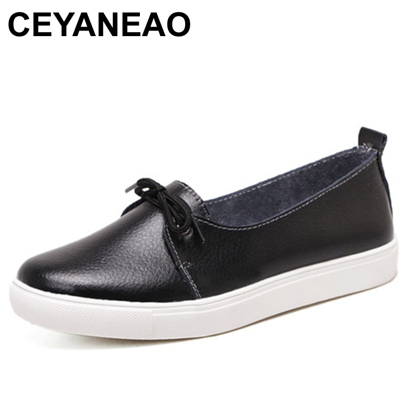 CEYANEAO Autumn Lovely Women Shoes Genuine Leather Women Flats Shoes Moccasins Single Solid Ballet Causal Shoes Woman Loafers