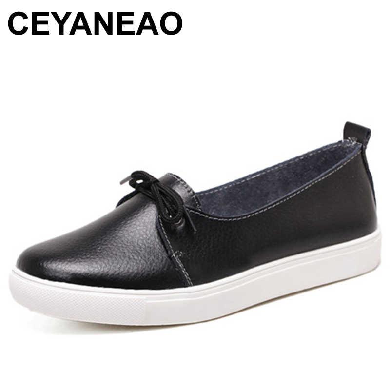 CEYANEAO Sonbahar Güzel Kadın Ayakkabı Hakiki Deri Kadın Flats Ayakkabı Moccasins Tek Katı Bale günlük ayakkabılar Kadın Mokasen