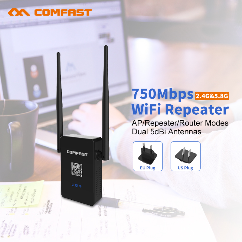 COMFAST CF-WR750AC Dual Band Wifi Repeater 750Mbps 802.11AC 2.4G/5.8G wifi Router Amplifier Signal Booster Wi-fi Roteador