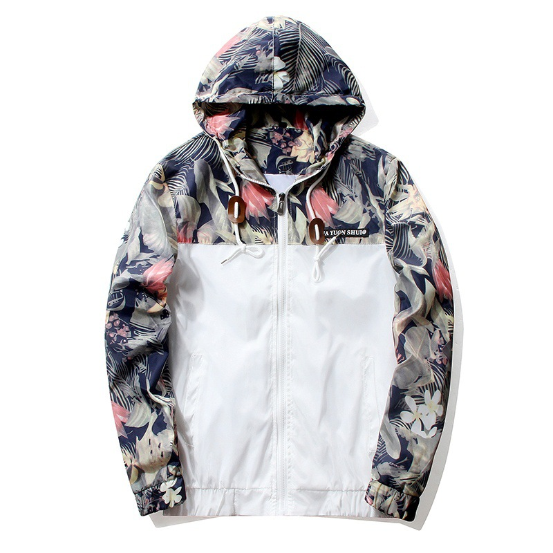 Floral Jacket 2019 Autumn Mens Hooded Jackets Slim Fit Long Sleeve Homme Trendy Windbreaker Coat Brand Clothing Drop Shipping(China)