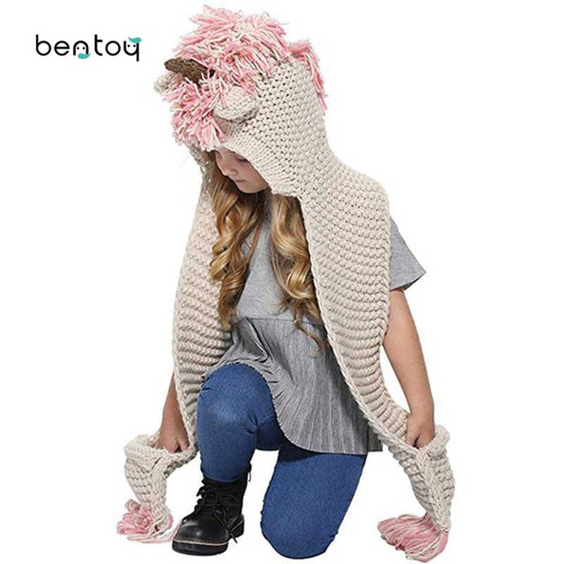 Bentoy 3-10 Anos Meninas Inverno Chapéu Cachecol Bonito Handmade Crianças Hat Envoltório Unicorn Unicórnio das Tampas Para As Crianças cachecóis de Lã quente Chapéu