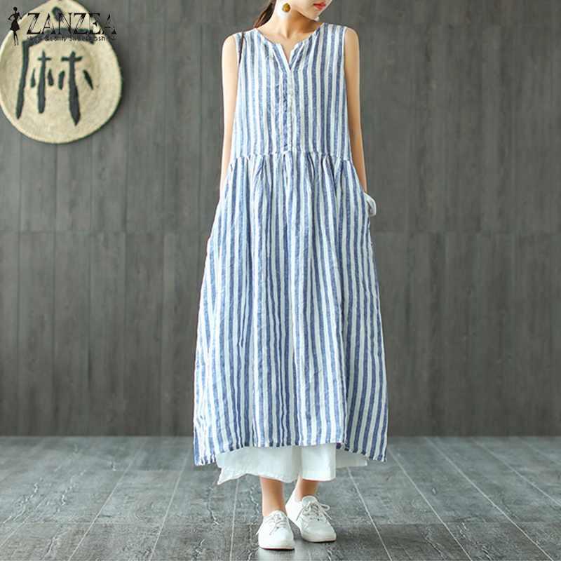 c5498a20d610 ZANZEA Summer Striped Dress Women Sleeveless V Neck Casual Vintage Loose  Sundress Plus Size Work Kaftan
