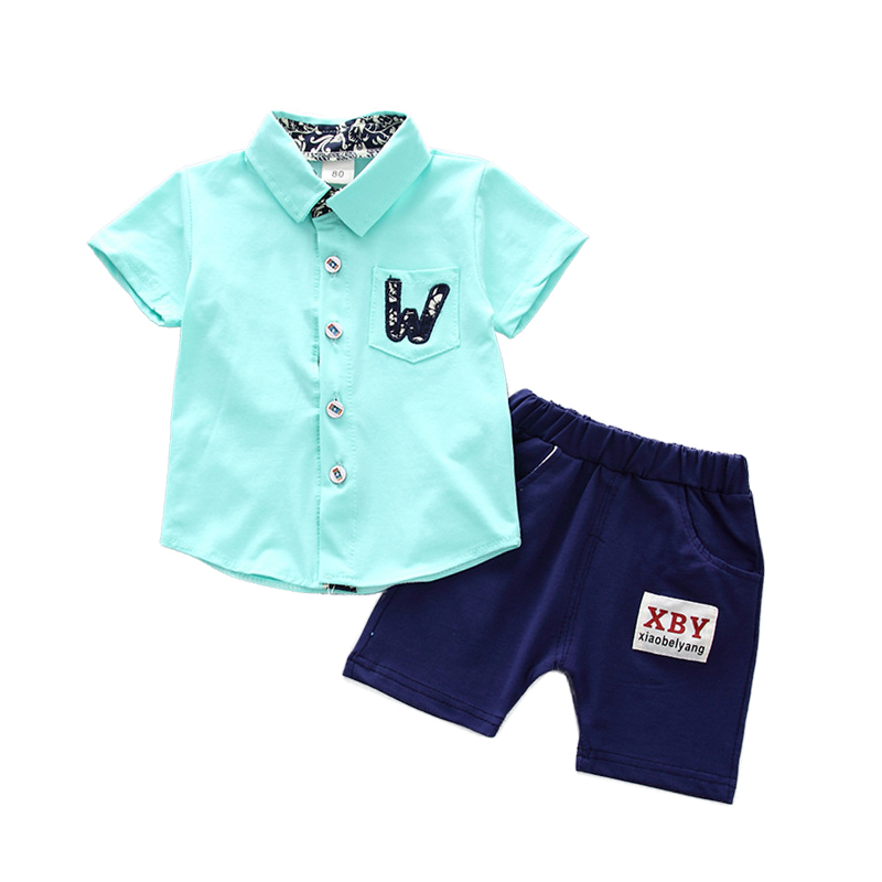 Fashion Kids Clothes for Boys 1 2 3 4 Year Summer Style Baby Children Clothing Set 2018 New Cotton Shirts Shorts 2PCS Boys Suits