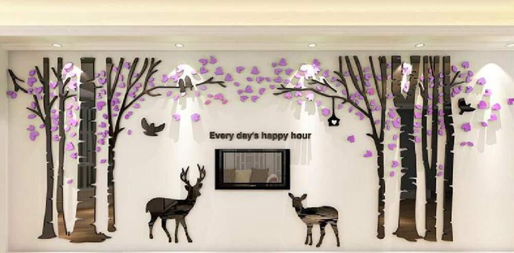Pegatina de pared tridimensional grande Forest Deer Living Room Sofa - Decoración del hogar - foto 4