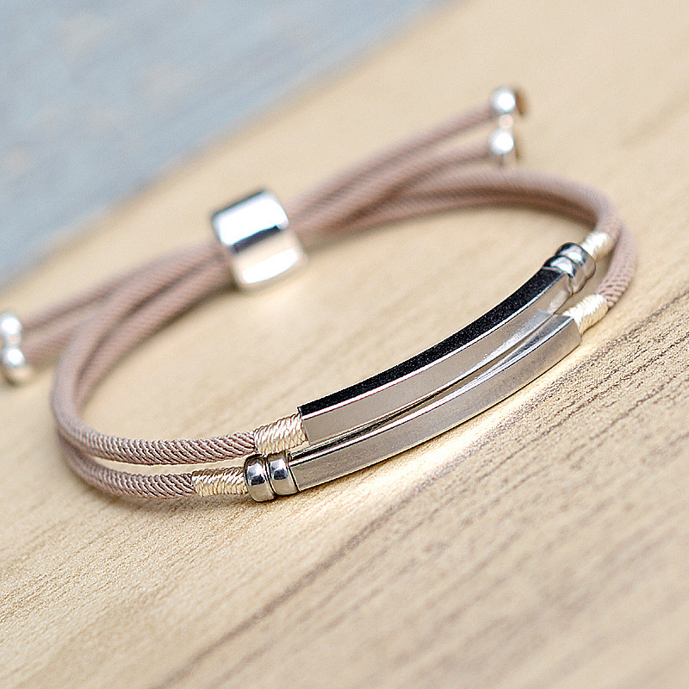 Trendy Double-deck lucky rope bracelet Simple Milan line Knitted Bangle 925 silver jewelry for men wholesale