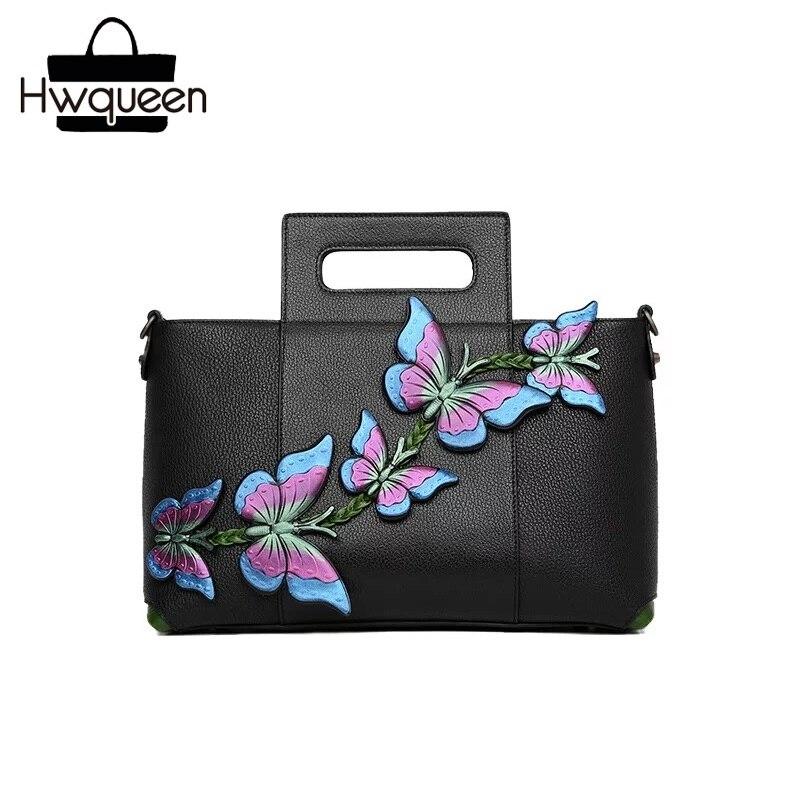 Fantaisie papillon Designer femme sac à bandoulière en cuir véritable fermeture à glissière femmes grande pochette sac à main en peau de vache dames sac à main