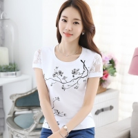 2016 Plus Size Short Sleeve T Shirt Female Summer T Shirt 100 Cotton O Neck Lace