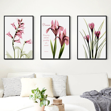 Artistic Pink Flowers A4 Canvas Paintings Print Poster Pictures Mural Warm Furnishings Decoration Bedroom