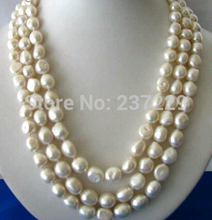 Wholesale price ^ 50″11mm baroque white freshwater pearl necklace shell flower clasp